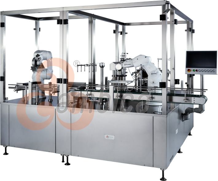 Fully Automatic Clean Room Robot Based Pre Fillable Syringe Filling and Plungering Machine with 100% In Process Checkweighing System