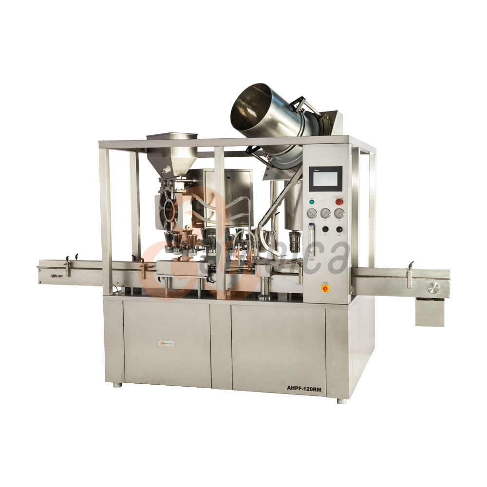 Automatic High Speed 16 Heads Rotary Monoblock Dry Syrup Powder Filling with 8 Heads ROPP/Screw Cap Sealing Machine