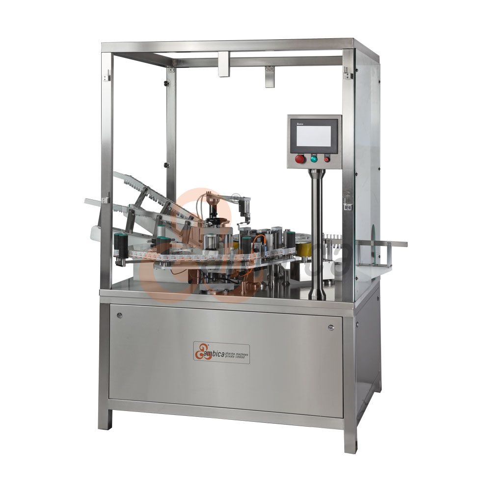 Automatic Advanced Servo Driven Safety Device / Preventis Insertion and Sticker Labelling Machine for PreFilled Syringes